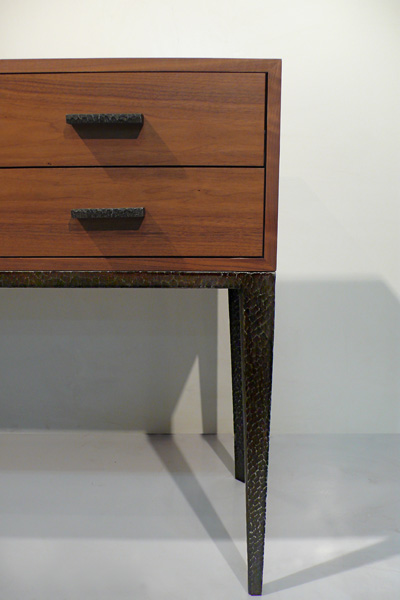 Wood and Hand-Forged Steel Console with Six Drawers (Detail)