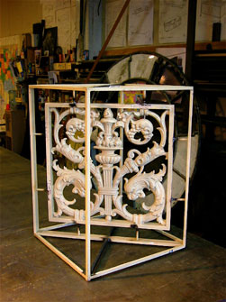 Cast Iron Panel into Cube Table Base