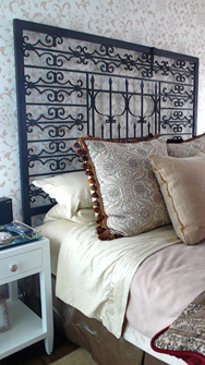 Repurposed Headboard from Two Salvaged Gates at Froy's