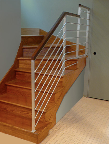 Polished Stainless and Oak Stair Railing – Lower Level